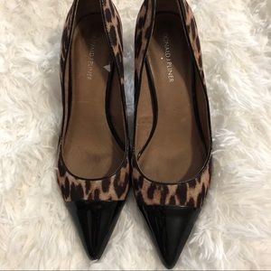 Donald J Pliner Leather Leopard Print Kitten Heels